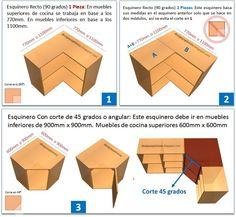Diseños De Muebles: Armarios, Cocinas, Bibliotecas, Etc.: Formas de Fabricar un Mueble Esquinero de Cocina 45 - 90 Grados