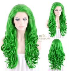 """Long Curly 26"""" Green Lace Front Synthetic Wig Heat Resistant"""