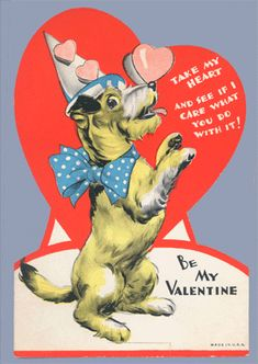 vintage valentine jack russel terrier