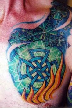 Celtic Firefighter Maltese Cross Tattoo (chest and shoulder) | Shared by LION