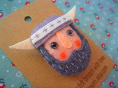 Hand sewn felt brooch Viking by parkdasom on Etsy, $18.00