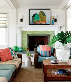 Having Fun With Detailed Tile Fireplace Surround In Beach