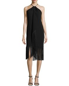 Carmen Marc Valvo Sleeveless Halter Toga Cocktail Dress W/ Fringe