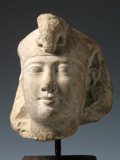 Egyptian Head of a King, sculptor's trial piece, limestone, early Ptolemaic, 3rd cent. BC.