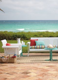Casual metal furniture with loud prints will create a retro feel right in your backyard.
