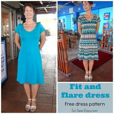 Free pattern for this fit and flare dress with princess seams.  Full video tutorial too - yup, this is perfect for me  :-)
