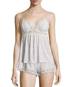 Secret Attic Lace Lounge Camisole & Shorts, Earl Gray by Eberjey at Neiman Marcus.