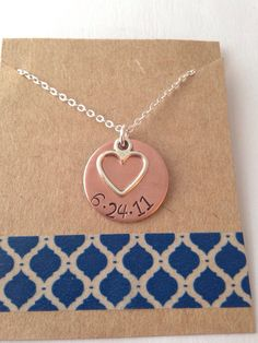Copper Date Necklace with Heart Charm Necklace by UniquelyImprint