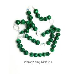 Long lariat necklace with large green malachite stones with swarovski elements