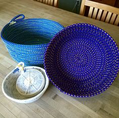 Polypropylene coiled rope bowls in multi colored blue or purple & xs cotton bowl w/set of 4 coasters sewn by Andrea