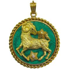 41fc9556e Van Cleef and Arpels Malachite Zodiac Pendant Circa 1970 | From a unique  collection of vintage