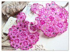 Big hand tatted earrings 'Bring me flowers' by gaestattedtreasures