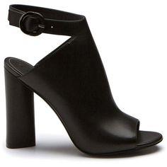 GIGI BLACK LEATHER SANDAL (€130) ❤ liked on Polyvore featuring shoes, sandals, heels, ankle strap sandals, ankle strap heel sandals, black high heel sandals, high heeled footwear and high heel shoes