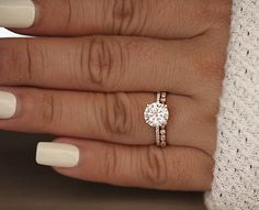 Rose Gold Engagement Ring Moissanite Round 8mm and Diamond