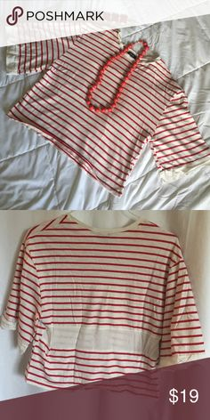 Zara blouse and accessories Zara red stripe top , vintage find bracelet & statement bead necklace Zara Tops Blouses