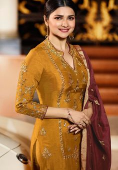 Prachi desai mustard silk embroidered trouser style suit 36244 details about silk kameez punjabi pant salwar party wear indian pakistani stitched suit m l xl Neck Designs For Suits, Dress Neck Designs, Blouse Designs, Embroidery Suits Punjabi, Embroidery Suits Design, Yellow Suit, Mellow Yellow, Mustard Yellow, Pakistani Suit With Pants