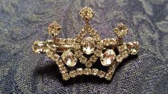 BEAUTIFUL Crown Hair Clip w/ Prong Set Rhinestones by ceiltiques