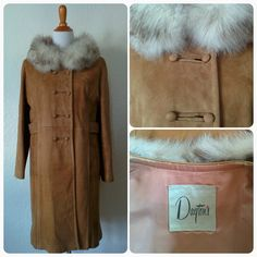 Vintage 60's Suede Coat Dayton's Tan Leather Outerwear with Fur Collar - pinned by pin4etsy.com