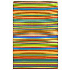 Bright Multi-Stripe Rug for front patio...