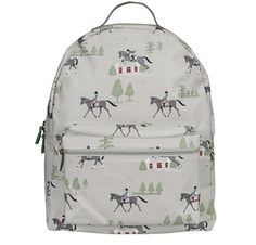 This quality Children's Rucksack is a practical bag for school essentials, sleepovers and pony club adventures! Covered in jumping and trotting horses on a pale stone background. A great gift for horse riding fans. From Sophie Allport.