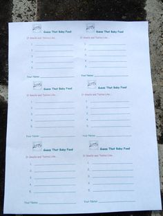 Free Printable Template for Guess the Baby Food Game Ballot - a fun baby shower game