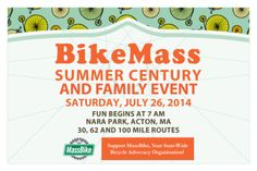 BikeMass 5th Annual Summer Century  & Family Event for MassBike  BBQ and Beer Post Ride! Saturday July 26th - NARA Park, Acton, MA