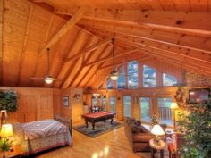 Wears Valley cabin rental - Huge Vaulted Pine Ceiling covers the entire cabin~ Awesome Upscale Romantic!!!