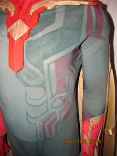 Current bodysuit detailing on Vision Cosplay Costume for Avengers: Age of Ultron.