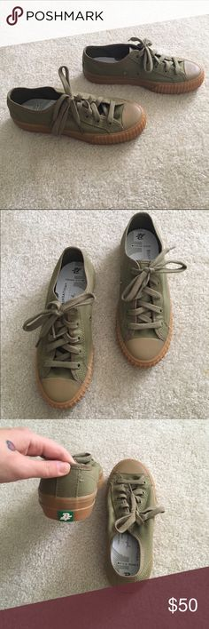 PF Flyers Adorable army green PF Flyers worn only once. In perfect condition! Great for summer leading into fall! PF Flyer Shoes