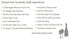 """Which """"perfectly-tailored gift experience"""" would you consider the most perfectly-tailored for a two-year old?"""