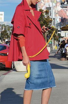 Trina Turk Swing Coat & Tangier Denim Skirt | Nordstrom
