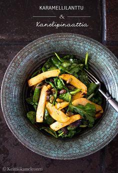 Roasted Rutabaga with Cinnamon Spinach Salad - Karamellilanttu & Kanelipinaattia eli Sesonkimakujen uudet käänteet | Keittiökameleontti