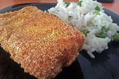 Somon in crusta de malai cu garnitura de orez. Grains, Rice, Recipes, Seeds, Laughter, Jim Rice, Korn