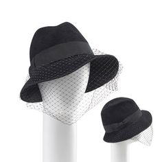 Hand blocked fur felt velour fedora with veil and pearl beauty mark from Tracy Watts.
