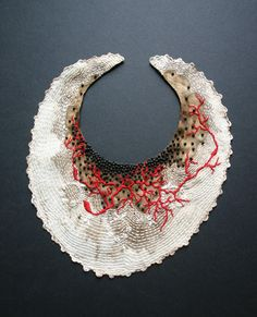 Fiber and Textile, Erin Endicott, Artist, Healing Sutra #11  Hand Embroidery on Antique Baby Bib Stained with Walnut Ink, Beads