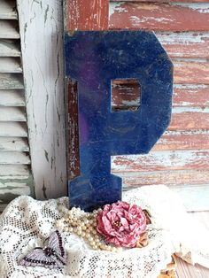 Letter+P+Initial+P+Vintage+Metal+Sign+by+by+AVintageObsession,+$29.95