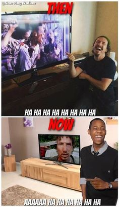 The Walking Dead.  Even horrible deaths can make an actor laugh.