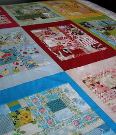 cutest scrap quilt ever!  Color coated.  No instructions, but just do it however you want!
