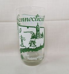 Souvenir Tumbler Glass Connecticut The Nutmeg State Vintage Kitchenware Kitchen Ware America The Beautiful by KansasKardsStudio on Etsy
