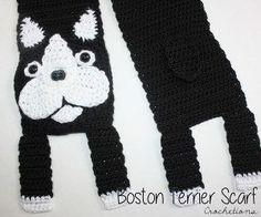 Crochet Boston Terrier Scarf
