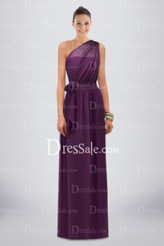 Divine One-shoulder Column Chiffon Bridesmaid Dress Adorned with Pleats and Sash