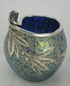 Loetz Cobalt 'Papillon' vase with silver overlay, 1905