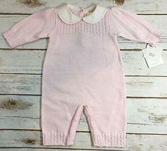 Renzo Light Pink White Sweater Knit One Piece Romper Baby Girl 3 Months New | eBay