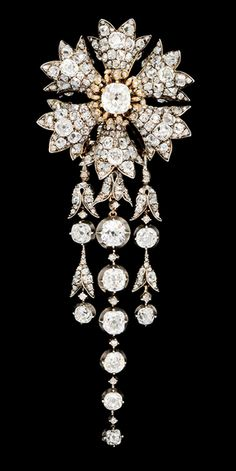Antique Diamond Hair Ornament, with three detachable, articulated diamond strands. French, ca. 1855.