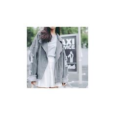 Distressed Denim Jacket (£28) ❤ liked on Polyvore featuring outerwear, jackets, women, jean jacket, distressed denim jacket, grey utility jacket, distressed jean jacket and gray jacket