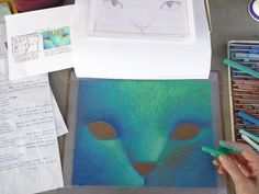 """""""This shows the Blucy cover illustration about half-way done with lighter blue tones appearing on the paper. Blucy's face is really taking shape here."""" -- Erika LeBarre  www.facebook.com/BlucyTheBlueCat Taking Shape, Blue Cats, Blue Tones, Erika, Lighter, Light Blue, Shapes, Facebook, Cover"""