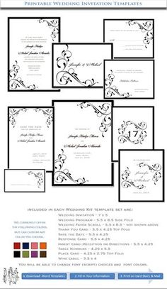 free wedding invitation templates   ... Wedding Invitations Black Elegance   DIY Stationery Templates