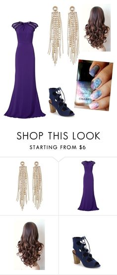 """""""Audrey Yule Ball"""" by charleymalfoy ❤ liked on Polyvore featuring Charlotte Russe, Badgley Mischka, BC Footwear and Chanel"""