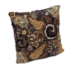 Chocolate Brown Throw Pillow Cushion Cover OOAK by rensfibreart
