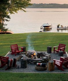 Backyard Fire Pit By The Lake.well it would be front yard fire pit Outdoor Spaces, Outdoor Living, Outdoor Decor, Party Outdoor, Lakeside Living, Outdoor Entertaining, Outdoor Sitting Areas, Outdoor Ideas, Outdoor Retreat